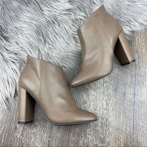 Taupe Vegan Leather Heeled Ankle Booties